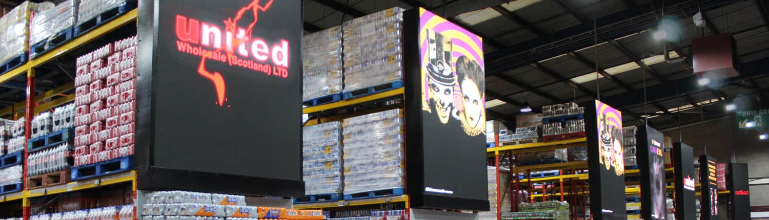 United Vertical Billboards for cash and carry advertisement