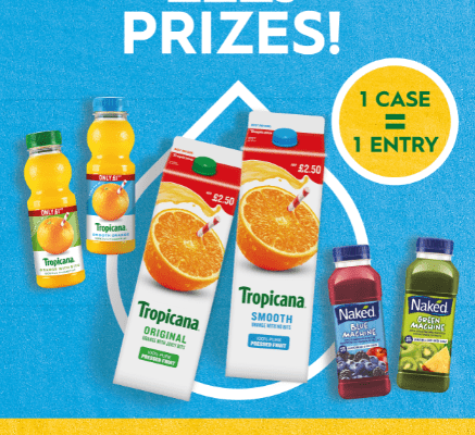 Win prizes when buying Tropicana & Naked juices
