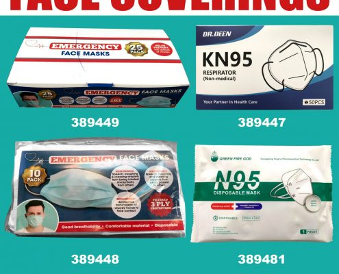 Stock up on face coverings/ masks emergency KN95, N95 available in all 3 United depots