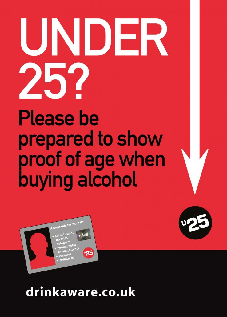 please be prepared to show your proof of age when buying alcohol drinkaware