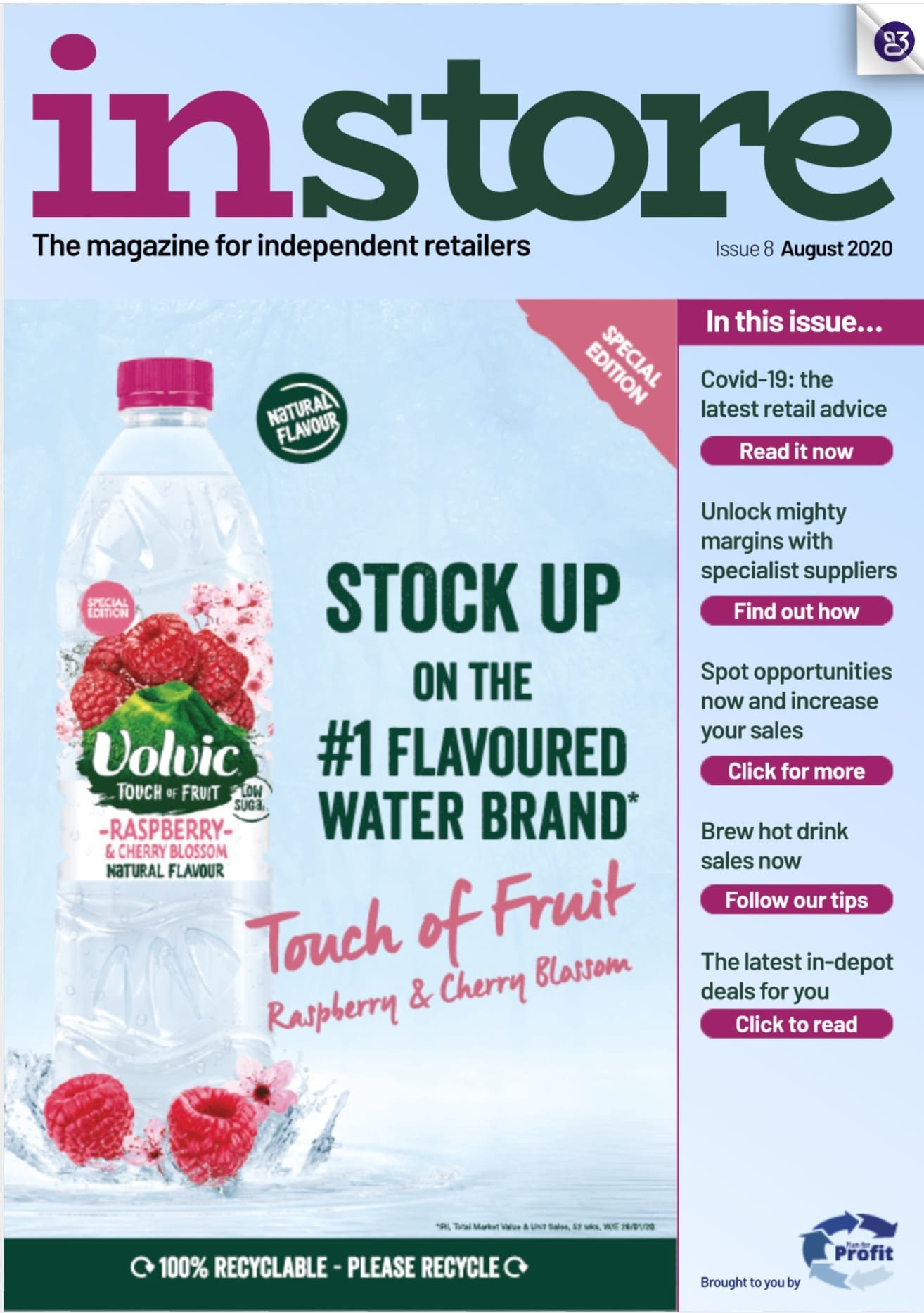 volvic touch of fruit raspberry & cherry blossom natural flavored water
