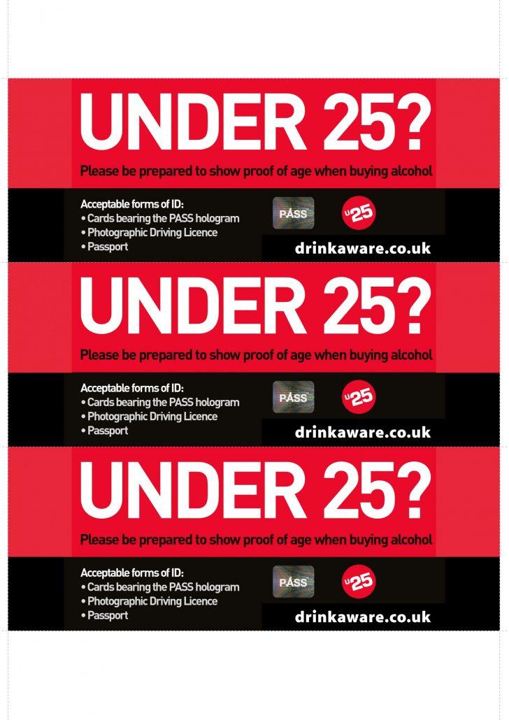 Under 25 A4 print Shelftalkers drinkaware.co.uk