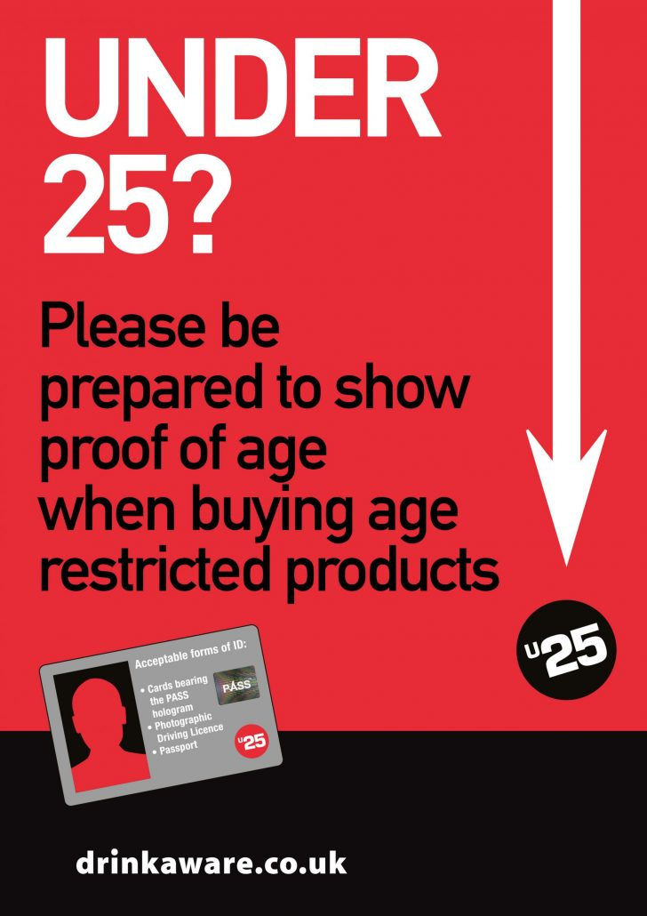 Under 25 notice for customers buying age restricted products