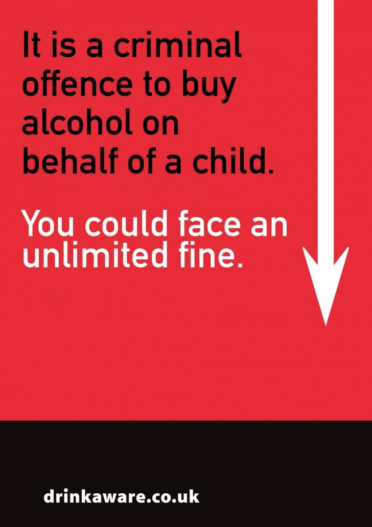 Criminal offense unlimited fine to buy alcohol on behalf of child