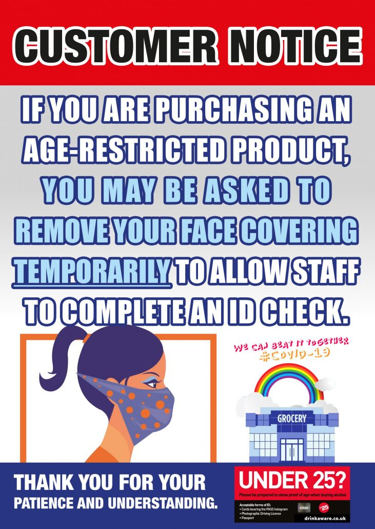 customer notice age restricted product remove face covering for ID check