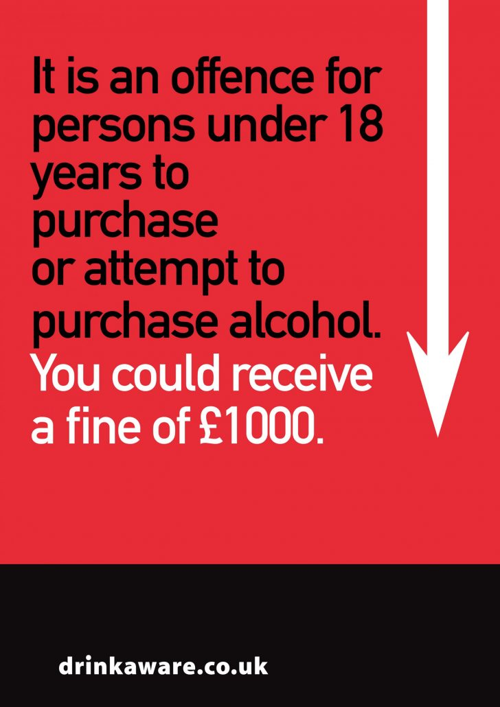 £1000 fine person under 18 years to purchase or attempt to purchase alcohol
