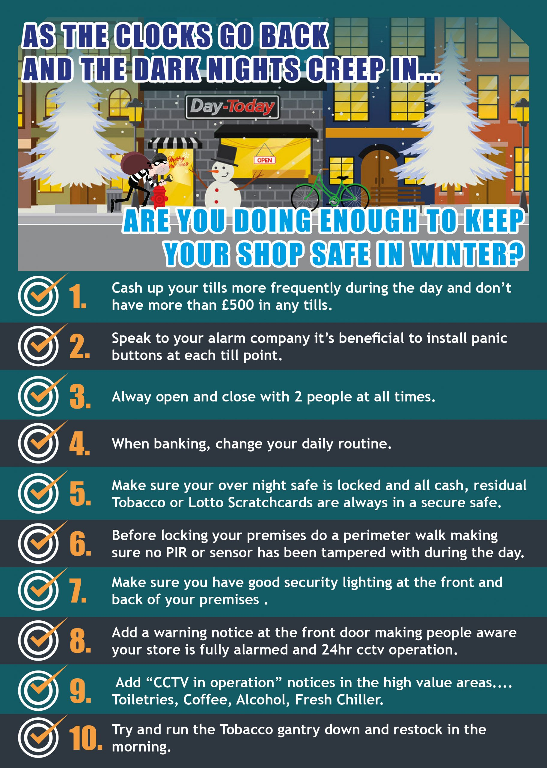 Keep your shop safe in winter; security guidelines