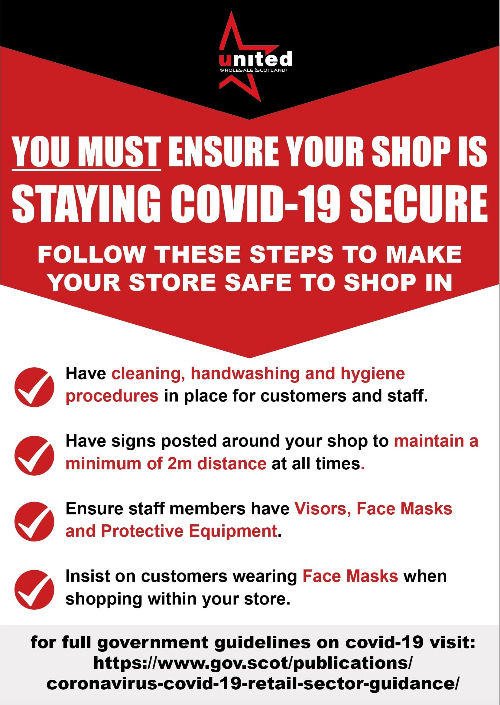 You must ensure your shop is staying covid-19 secure