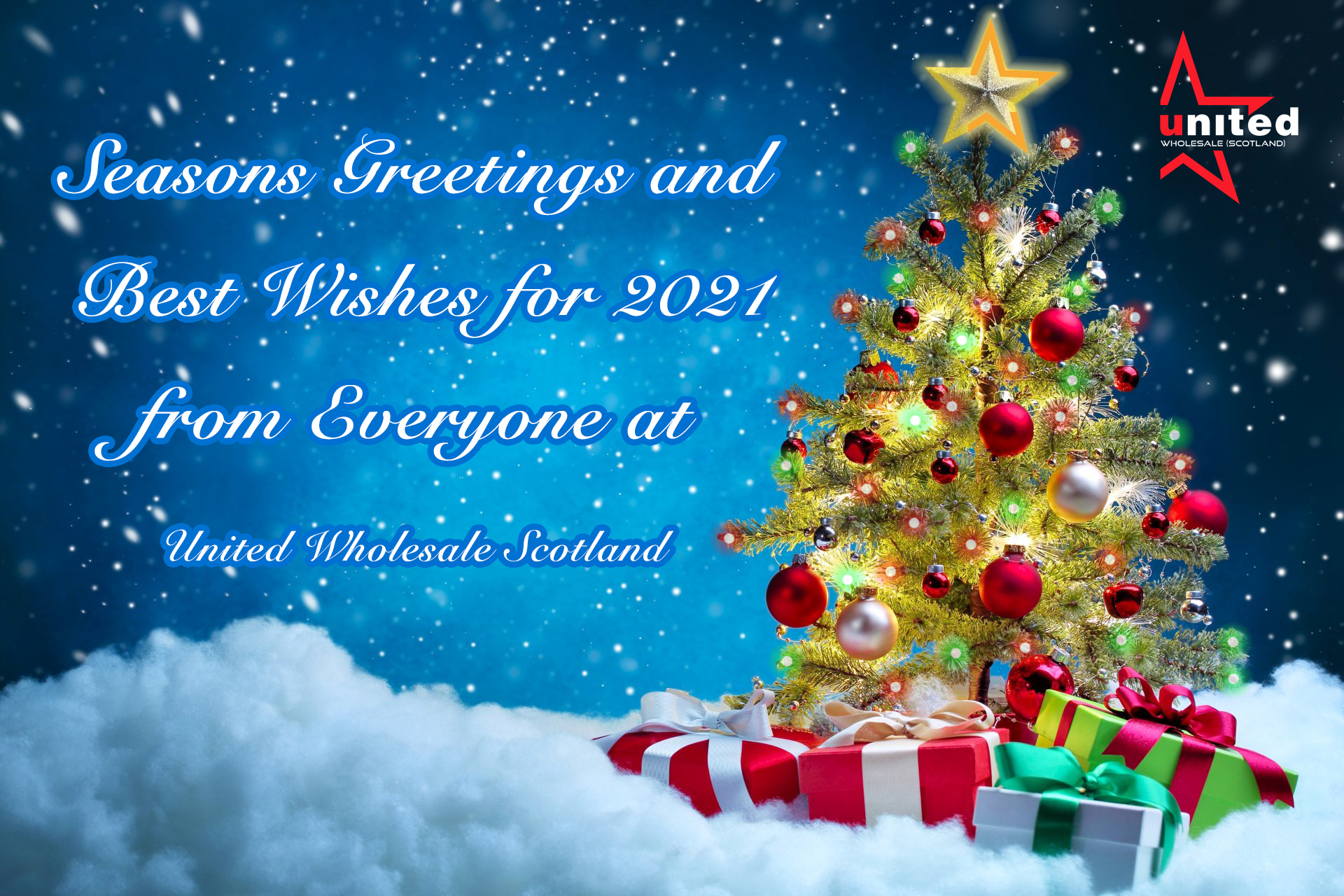 Merry XMAS Card - Seasons greetings and best wishes for 2021 from everyone at United Wholesale Scotland cash and carry